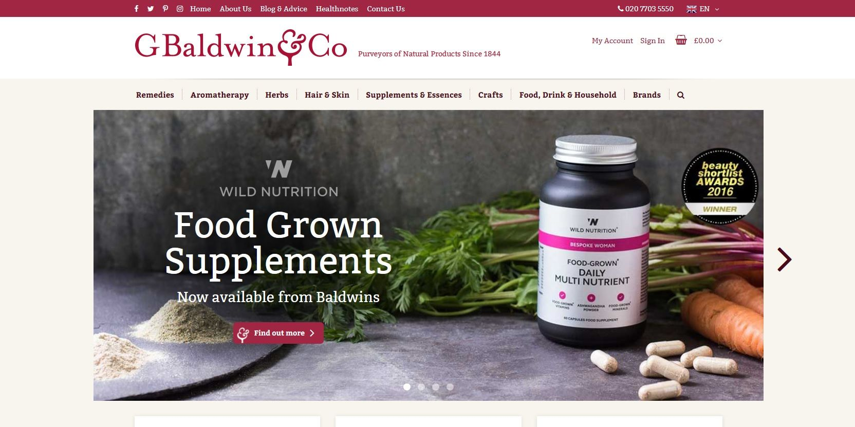 New Magento 2 site for London's Oldest Herbalist